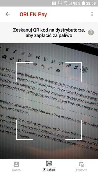 Aplikacją Orlen Pay zeskanuj kod QR z dystrybutora