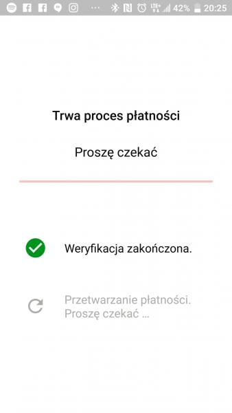 Po kliknięciu Zapłać pojawia się jeszcze ekran z prośbą o podanie wcześniej zdefiniowanego PINu i następuje przetwarzanie płatności