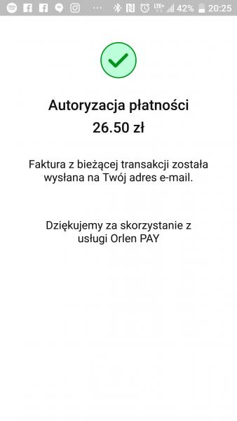 Ekran potwierdzający autoryzację płatności